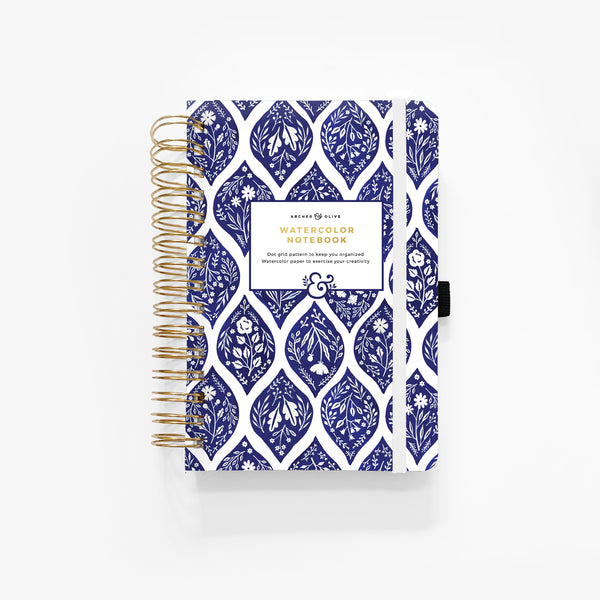 WATERCOLOR A5 Fleur de Bleu Spiral Dot Grid Notebook