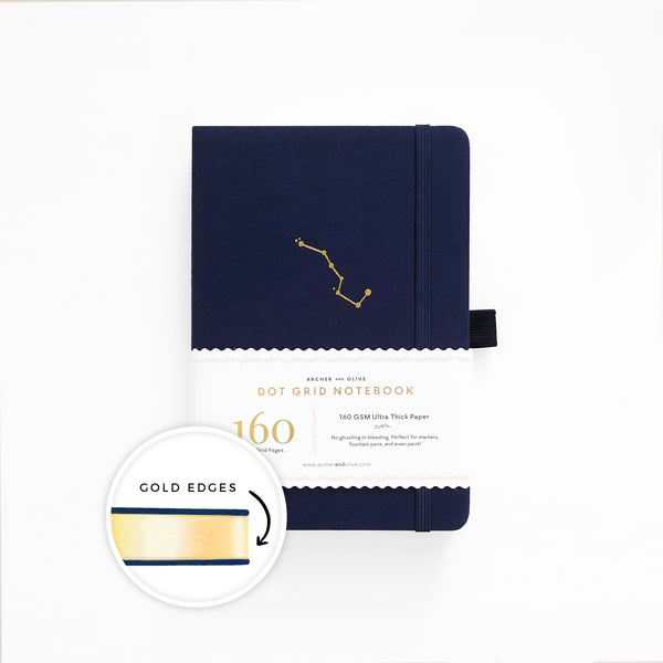 A5 Night Sky Dot Grid Notebook With Gold Gilded Edges