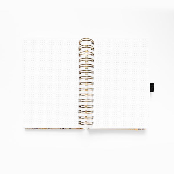 A5 Spiral Bound Dot Grid Notebook - Fleur de Bleu