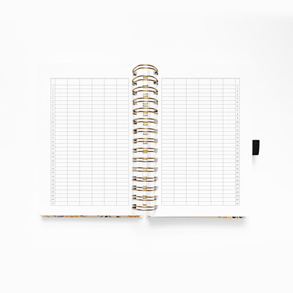 PRE-ORDER - SHIPS 2-15 Black Floral Planner - Undated 12 Month Personal Planner