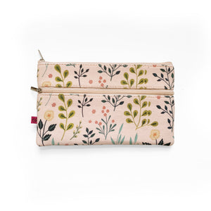 Pink Flowers Pencil Pouch Attaches to Journal