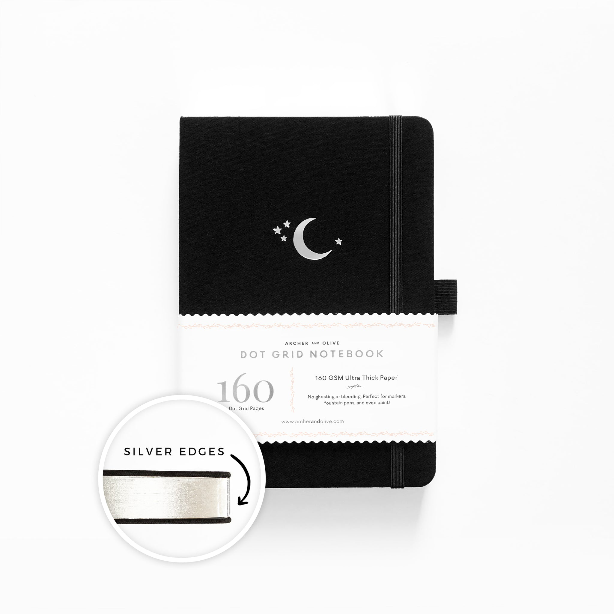 A5 Silver Crescent With Silver Edges Dot Grid Notebook