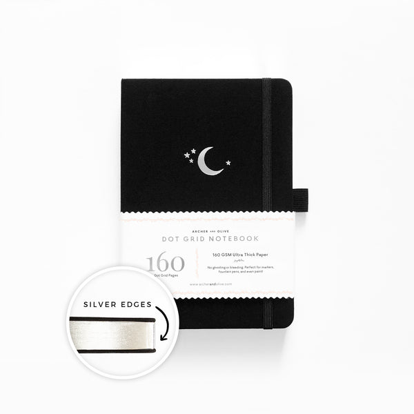 PRE-ORDER - A5 Silver Crescent Dot Grid Notebook With Silver Gilded Edges | SHIPS IN APRIL