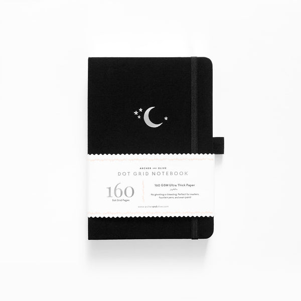 Silver Moon - Dot Grid Notebook With Silver Gilded Edges