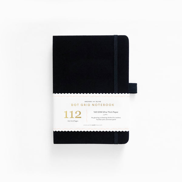 B6 Black Dot Grid Notebook