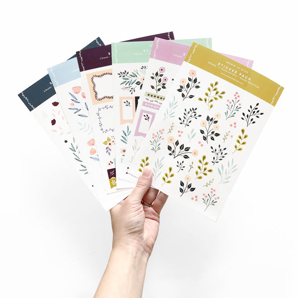bullet journal stickers  Pack of 6 Planner Stickers | Bullet Journal Stickers – Archer and Olive