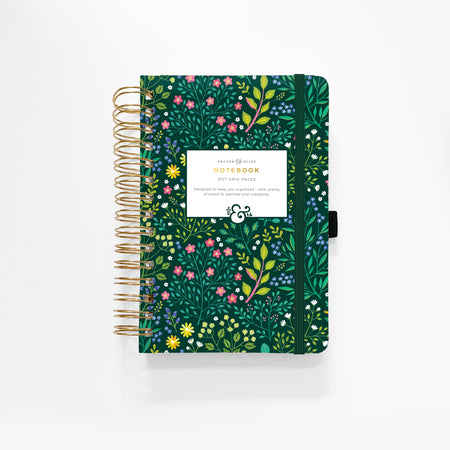 A5 Red Leaf Dot Grid Notebook