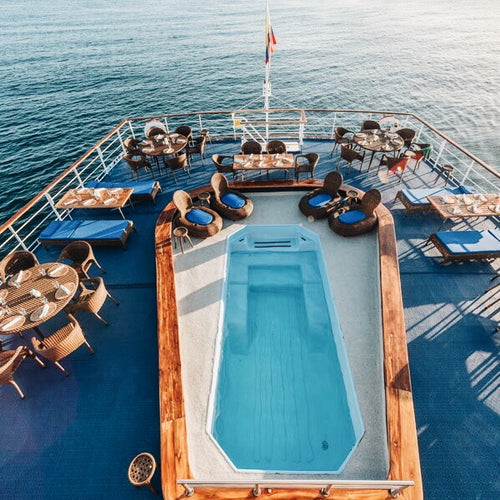 Outdoor pool on the Galapagos Legend
