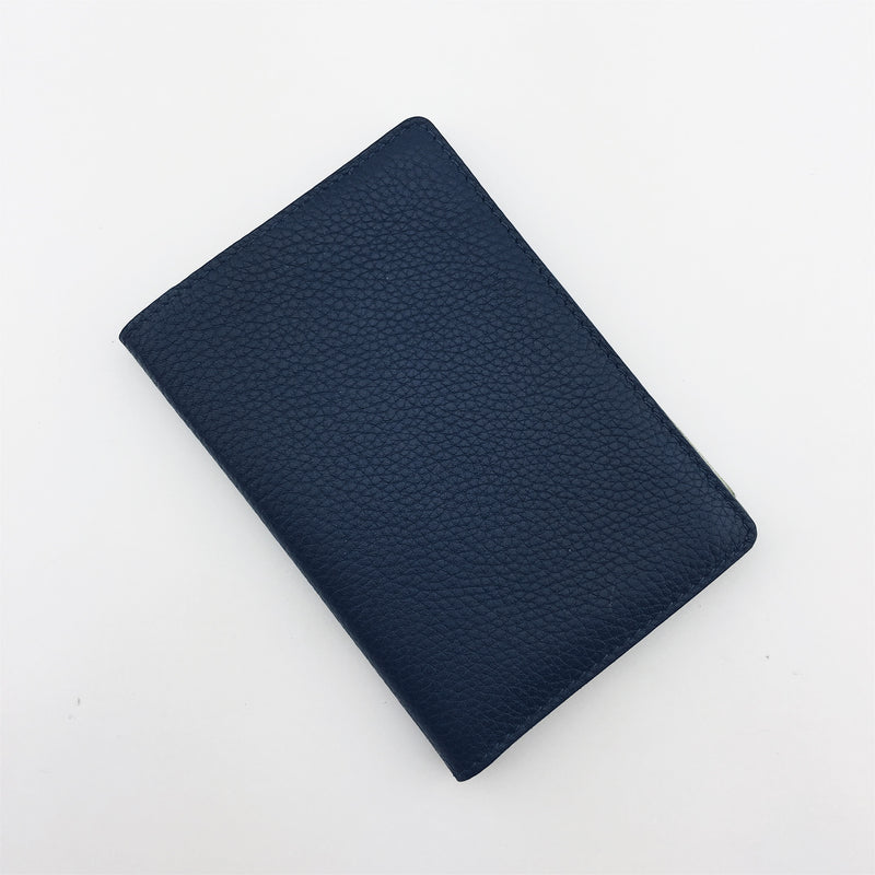 Premium navy leather passport by Nomoon