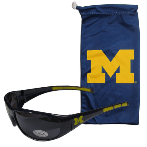 Michigan Wolverines Sunglass and Bag Set
