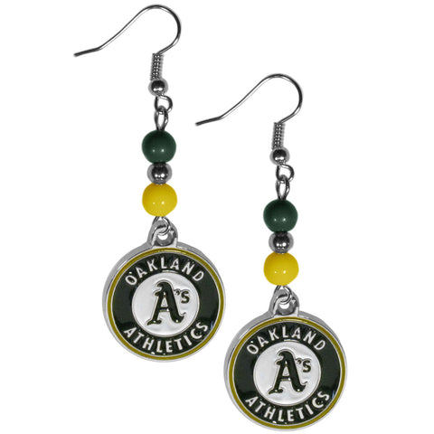 Oakland Athletics Fan Bead Dangle Earrings