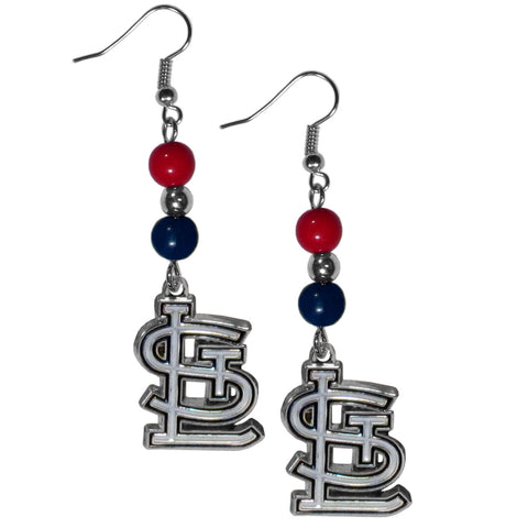 St. Louis Cardinals Fan Bead Dangle Earrings
