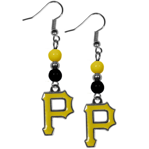 Pittsburgh Pirates Fan Bead Dangle Earrings