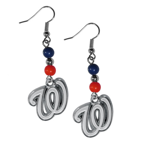 Washington Nationals Fan Bead Dangle Earrings