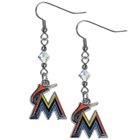 Miami Marlins Crystal Dangle Earrings