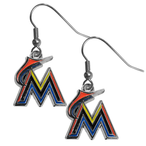Miami Marlins Chrome Dangle Earrings