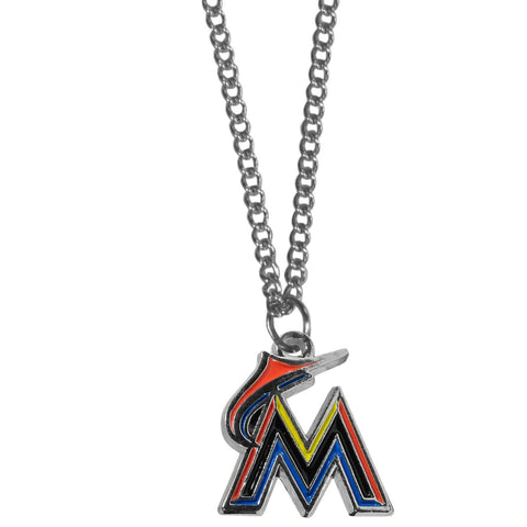 Miami Marlins Chain Necklace with Small Charm