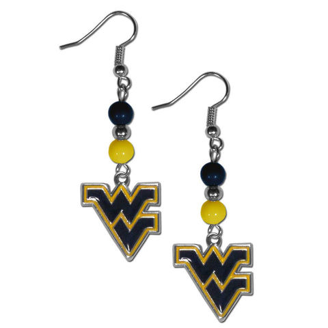 W. Virginia Mountaineers Fan Bead Dangle Earrings
