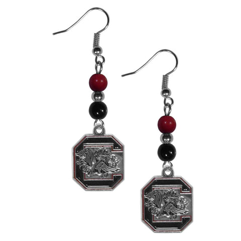 S. Carolina Gamecocks Fan Bead Dangle Earrings