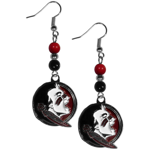 Florida St. Seminoles Fan Bead Dangle Earrings