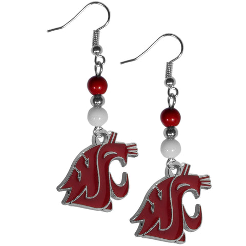 Washington St. Cougars Fan Bead Dangle Earrings