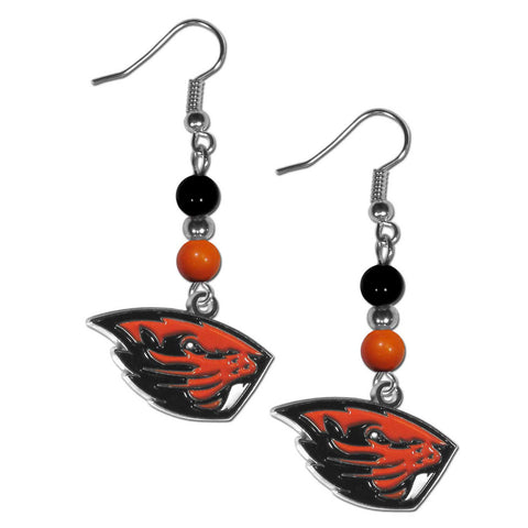 Oregon St. Beavers Fan Bead Dangle Earrings