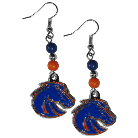 Boise St. Broncos Fan Bead Dangle Earrings