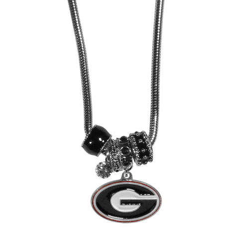 Georgia Bulldogs Euro Bead Necklace