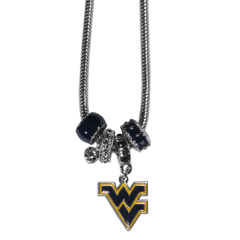 W. Virginia Mountaineers Euro Bead Necklace