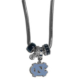 N. Carolina Tar Heels Euro Bead Necklace