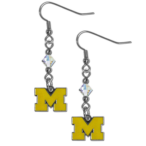 Michigan Wolverines Crystal Dangle Earrings