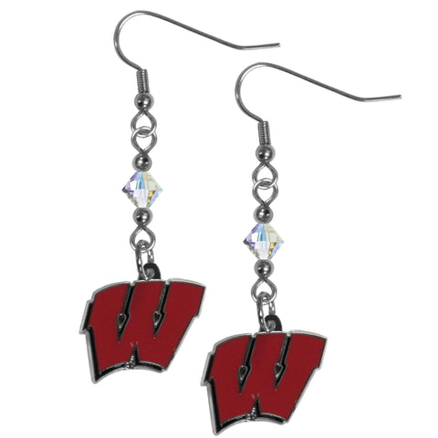 Wisconsin Badgers Crystal Dangle Earrings