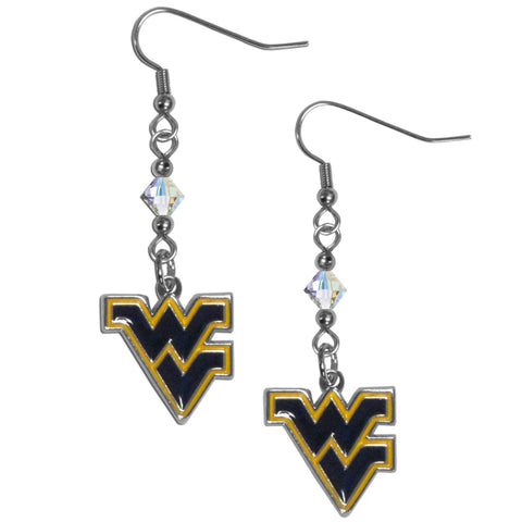 W. Virginia Mountaineers Crystal Dangle Earrings