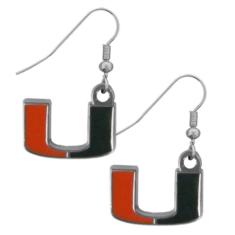 Miami Hurricanes Chrome Dangle Earrings