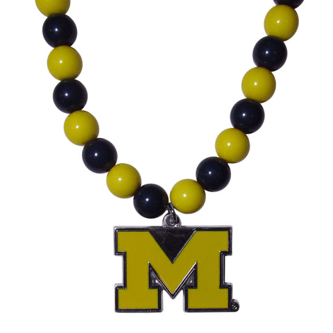 Michigan Wolverines Fan Bead Necklace