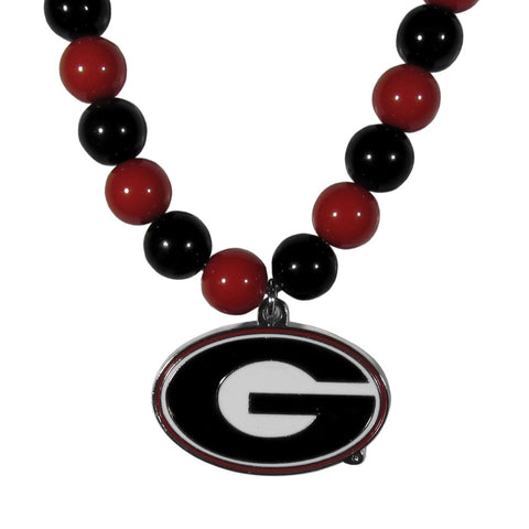 Georgia Bulldogs Fan Bead Necklace
