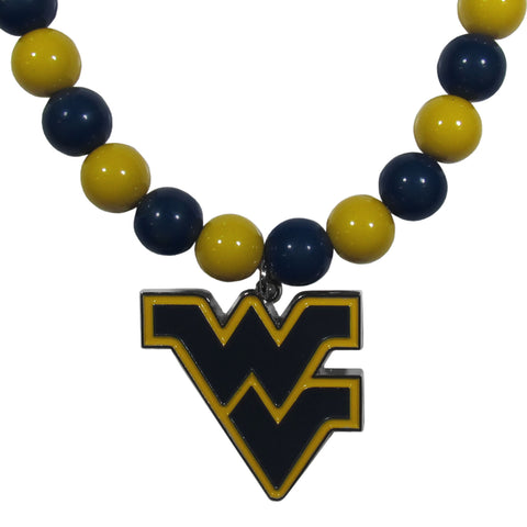 W. Virginia Mountaineers Fan Bead Necklace
