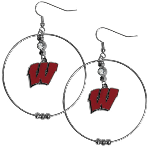 Wisconsin Badgers 2 Inch Hoop Earrings