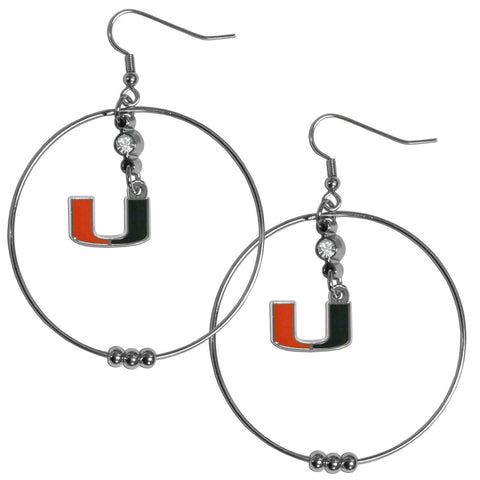 Miami Hurricanes 2 Inch Hoop Earrings