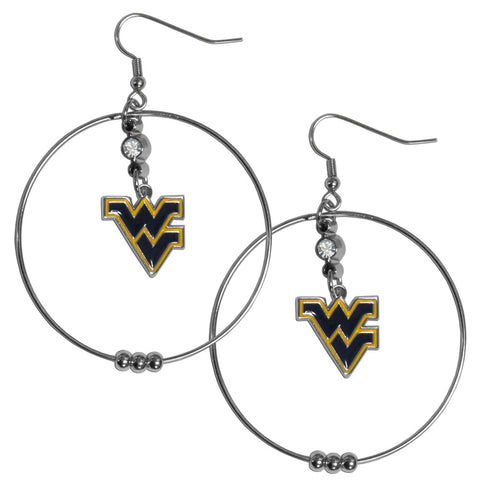 W. Virginia Mountaineers 2 Inch Hoop Earrings