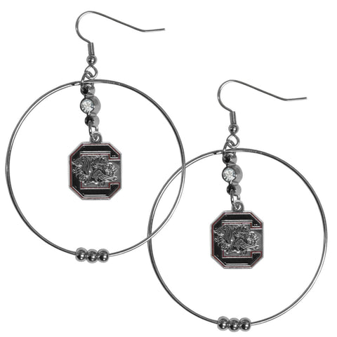 S. Carolina Gamecocks 2 Inch Hoop Earrings