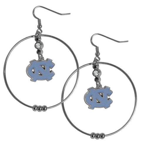 N. Carolina Tar Heels 2 Inch Hoop Earrings