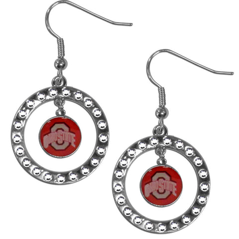 Ohio St. Buckeyes Rhinestone Hoop Earrings