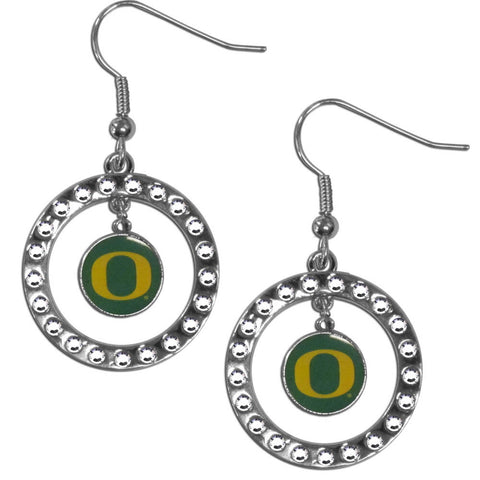 Oregon Ducks Rhinestone Hoop Earrings
