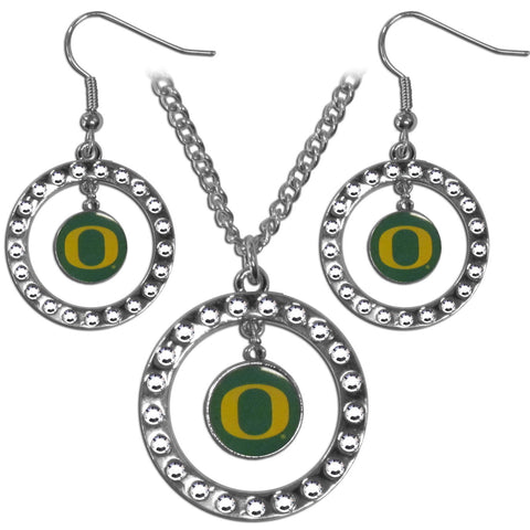 Oregon Ducks Rhinestone Hoop Jewelry Set