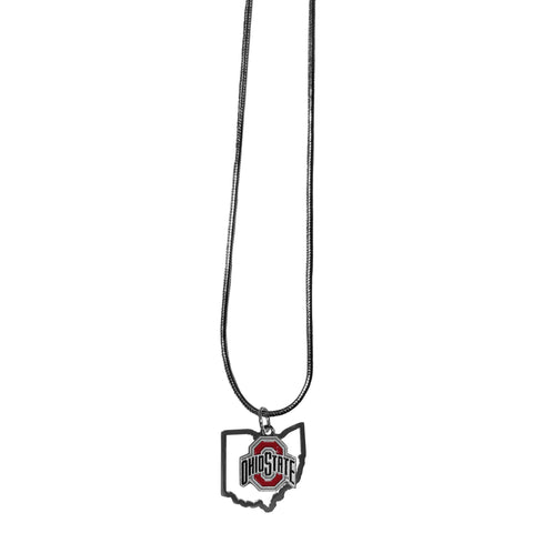 Ohio St. Buckeyes State Charm Necklace