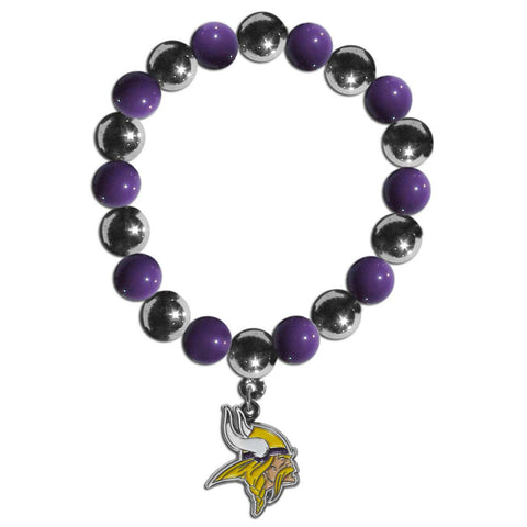 Minnesota Vikings Chrome Bead Bracelet