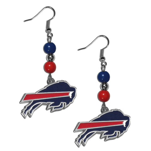 Buffalo Bills Fan Bead Dangle Earrings