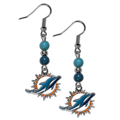 Miami Dolphins Fan Bead Dangle Earrings