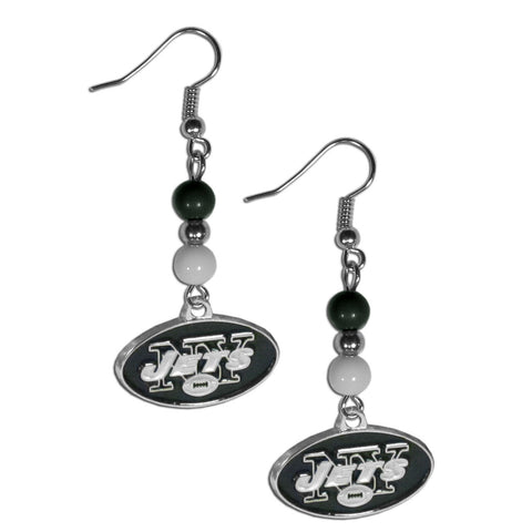 New York Jets Fan Bead Dangle Earrings